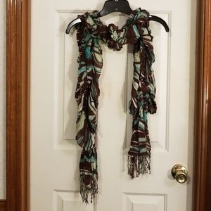 Scrunchy turquoise, cream and brown scarf.